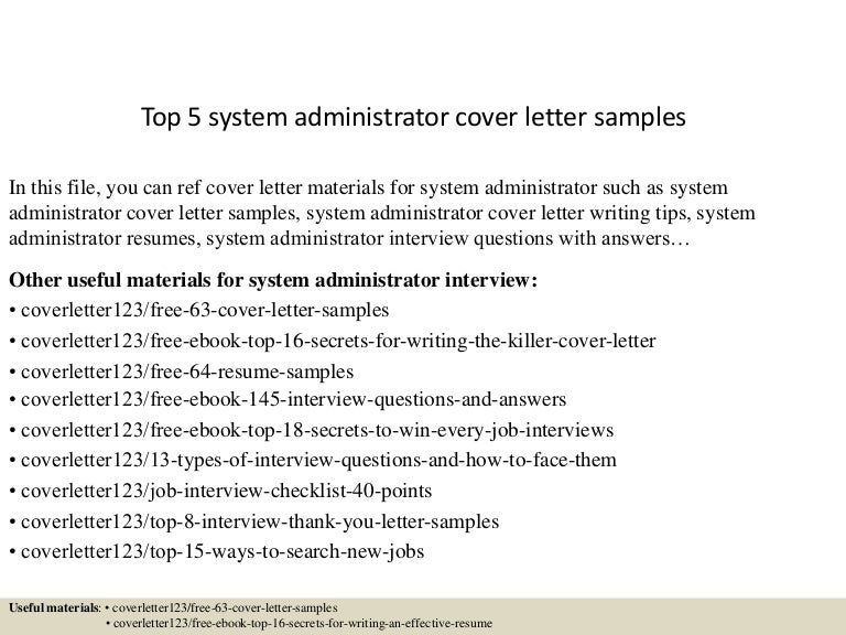 Sample Windows Administrator Cover Letter