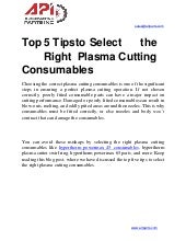 Top 5 tips to select the right plasma cutting consumables