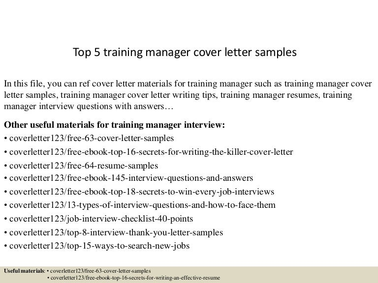top 5 training manager cover letter samples