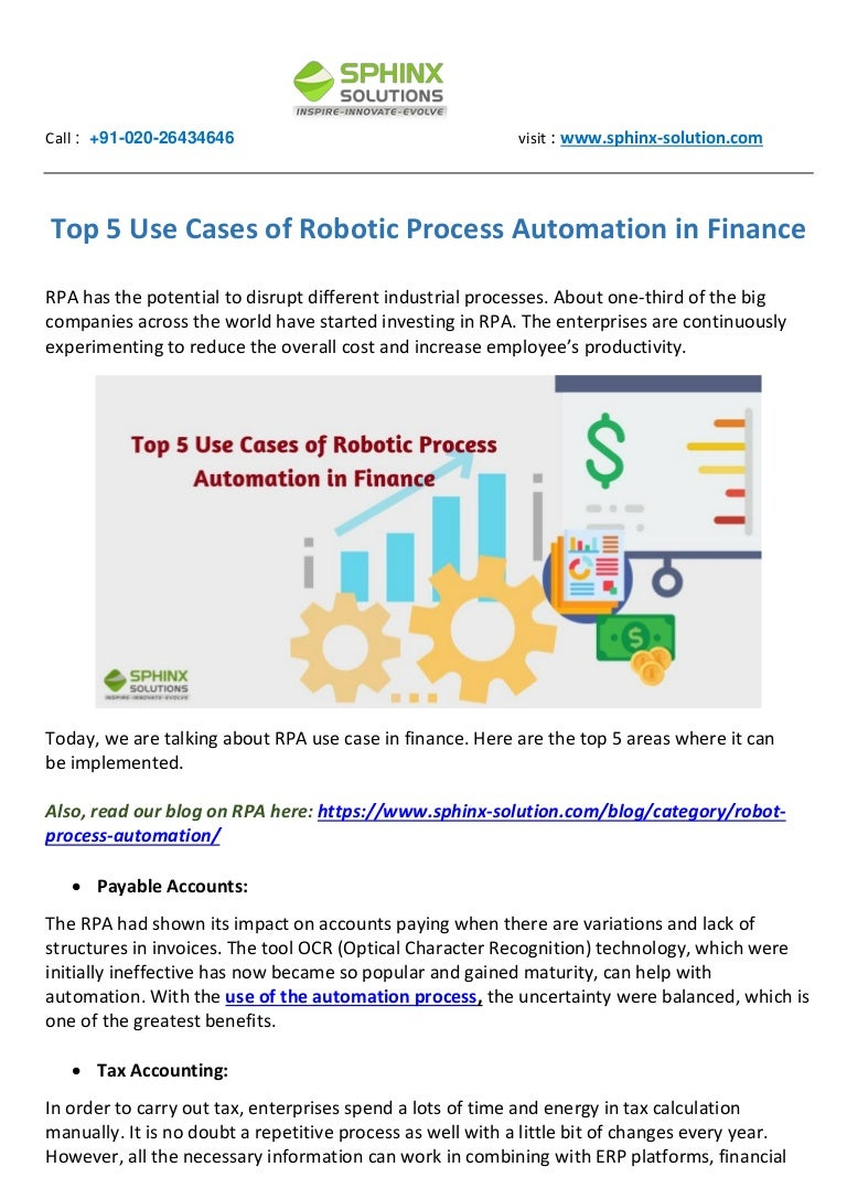 Top 5 Use Cases Of Robotic Process Automation In Finance