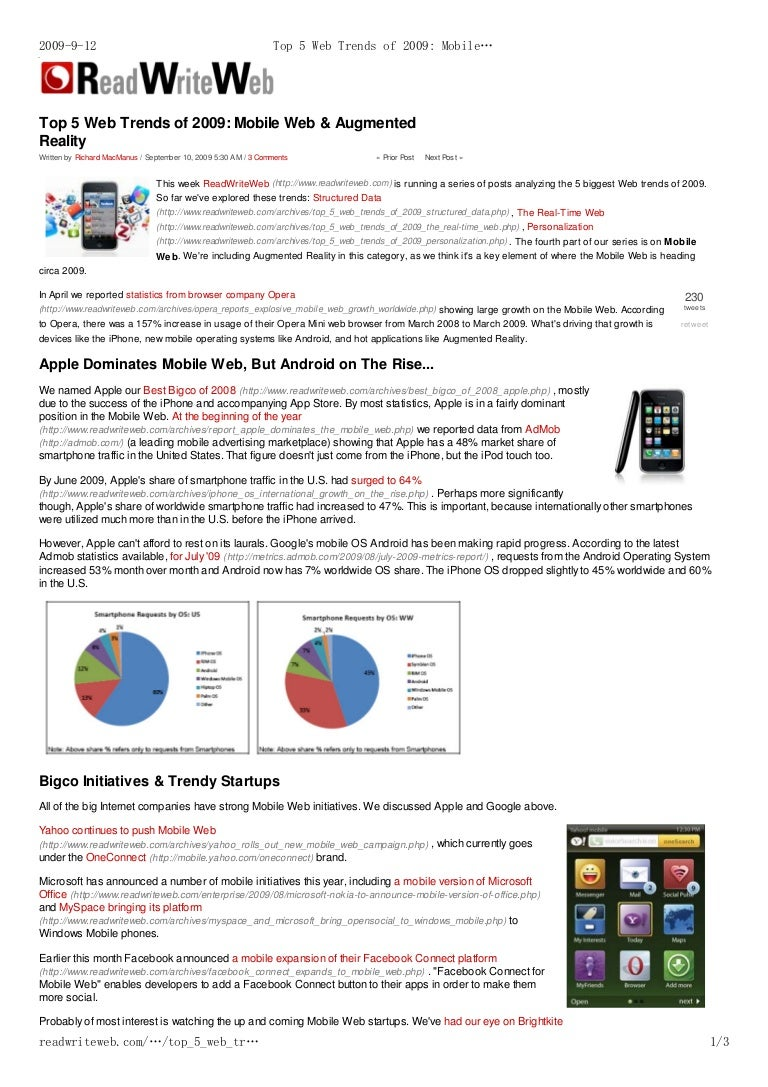 top 5 web trends of 2009 mobile web augmented reality