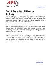 Top 7 benefits of plasma cutting