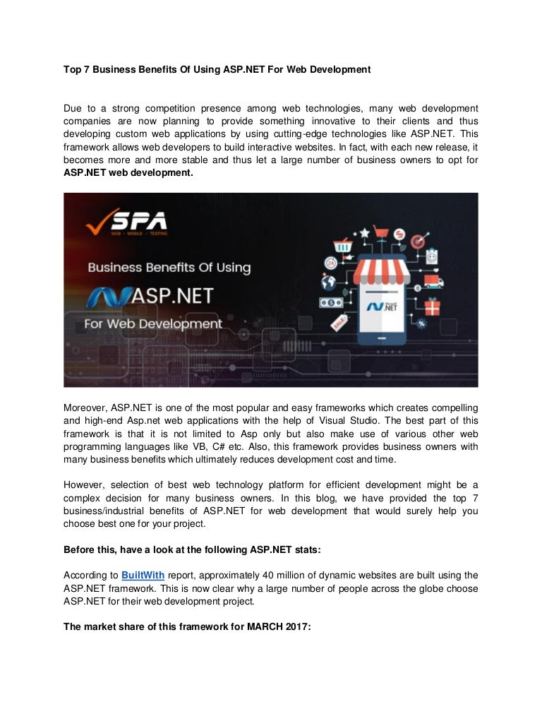 Top 7 Business Benefits Of Using Asp Net For Web Development Softwa