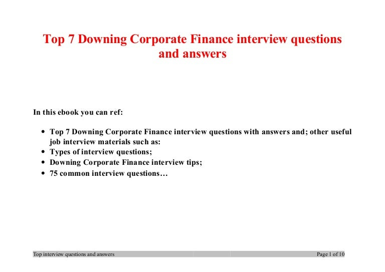 finance interview questions