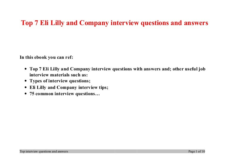 Top 7 eli lilly and company interview questions and answers