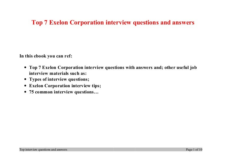 top 7 exelon corporation interview questions and answers - Most Common Interview Questions And Answers