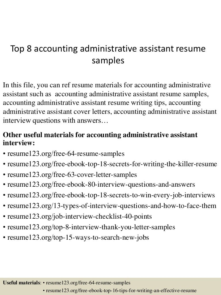 Accounting Administrative Assistant Interview Questions Brefash