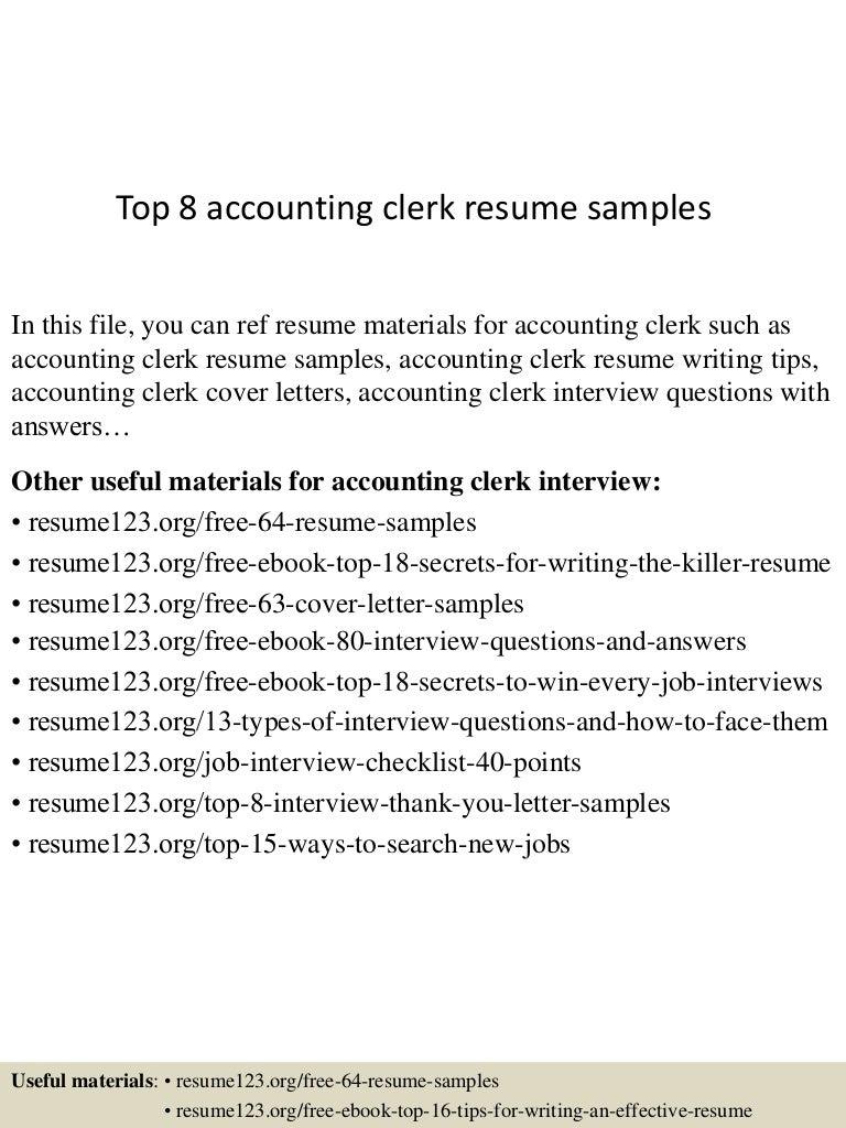 resume sample for accounting clerk
