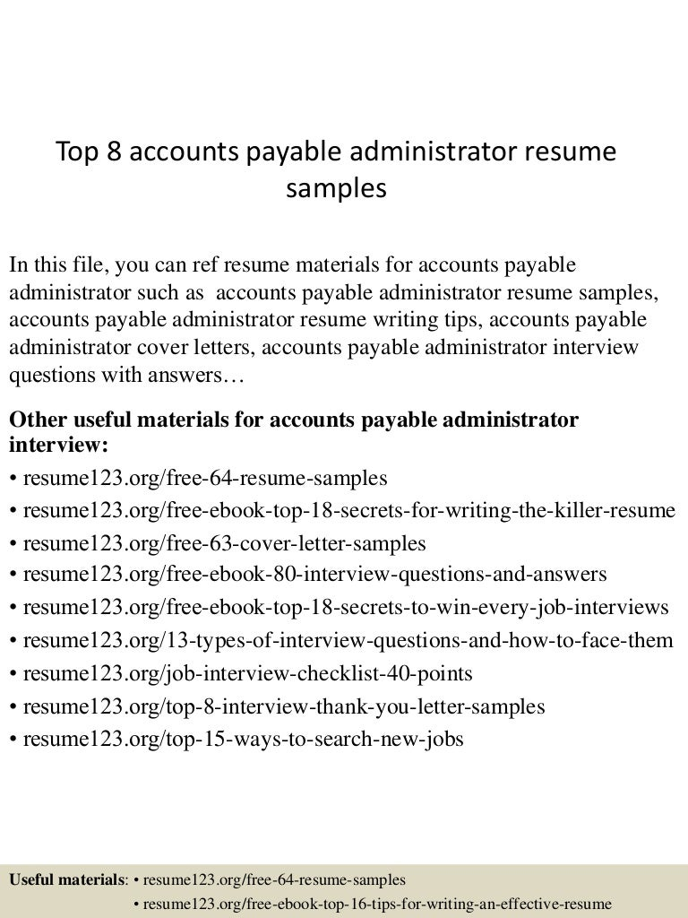 account payable resume sample - Sample Accounts Payable Resume