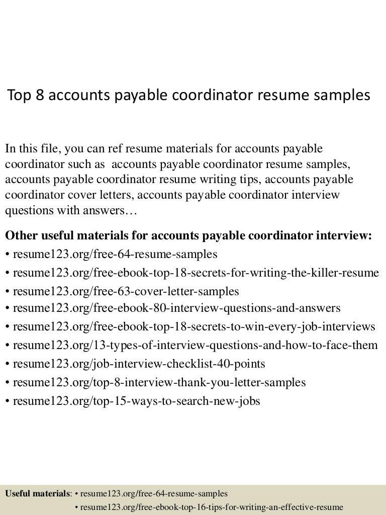 Top 8 accounts payable coordinator resume samples