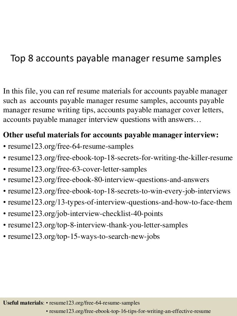 top 8 accounts payable manager resume samples
