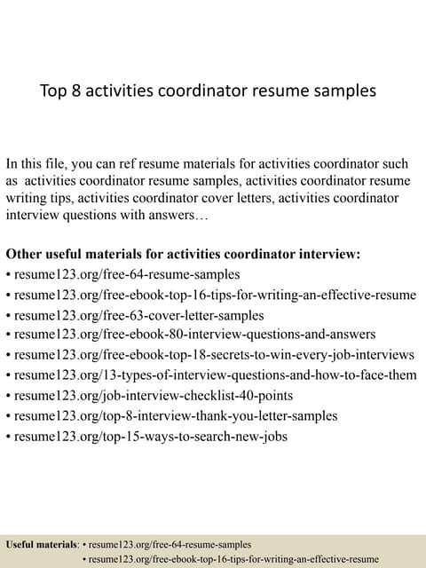 Top 8 Activities Coordinator Resume Samples