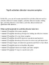 top 8 social media director resume samples - Activity Director Resume