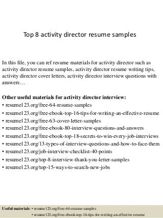 activities director resume - Activity Director Resume