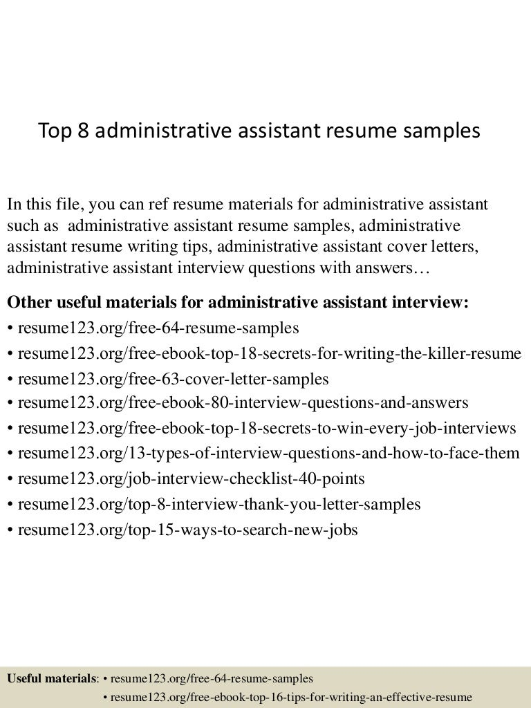top8administrativeassistantresumesamples 150424021914 conversion gate02 thumbnail 4 jpg cb 1429860002