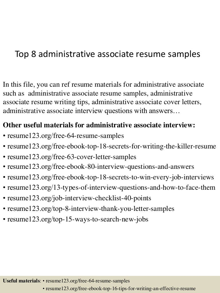 top8administrativeassociateresumesamples 150508031644 lva1 app6891 thumbnail 4jpgcb1431055047 resume cover letter samples administrative. Resume Example. Resume CV Cover Letter