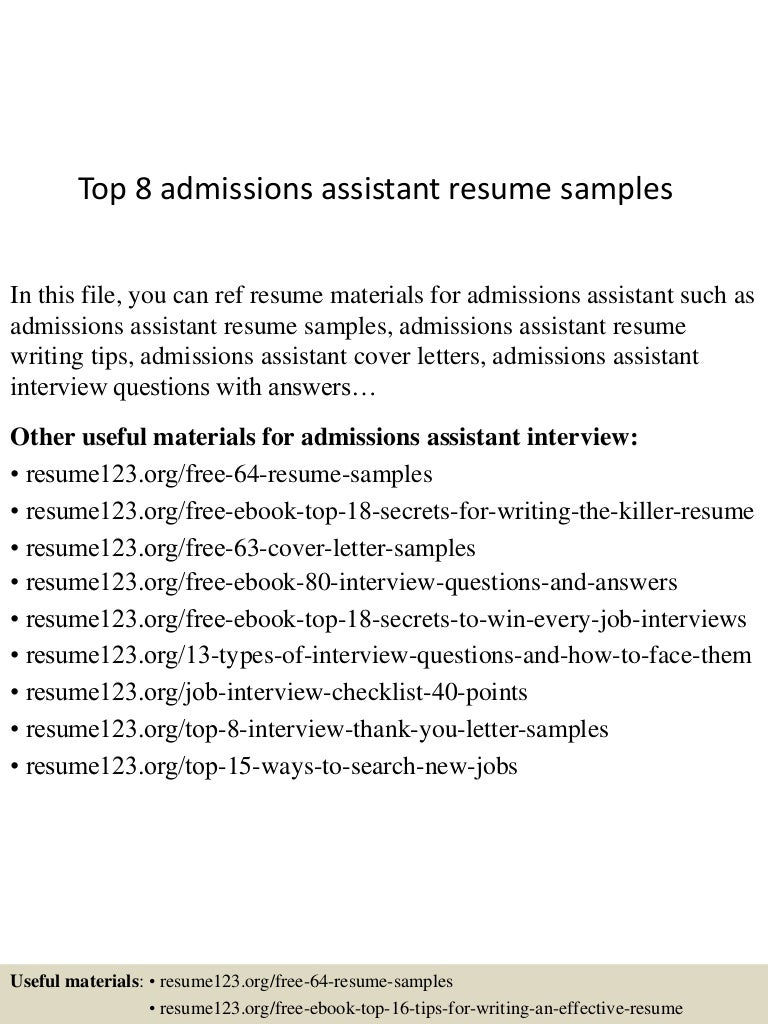 Sample Admissions Assistant Cover Letter