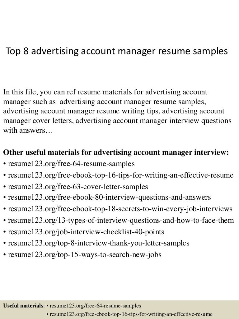 top8advertisingaccountmanagerresumesamples 150402080824 conversion gate01 thumbnail 4jpgcb1427980152 letter sales cover account manager - Account Director Cover Letter