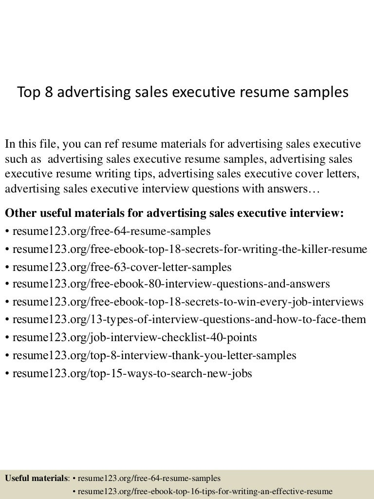Top 8 advertising sales executive resume samples