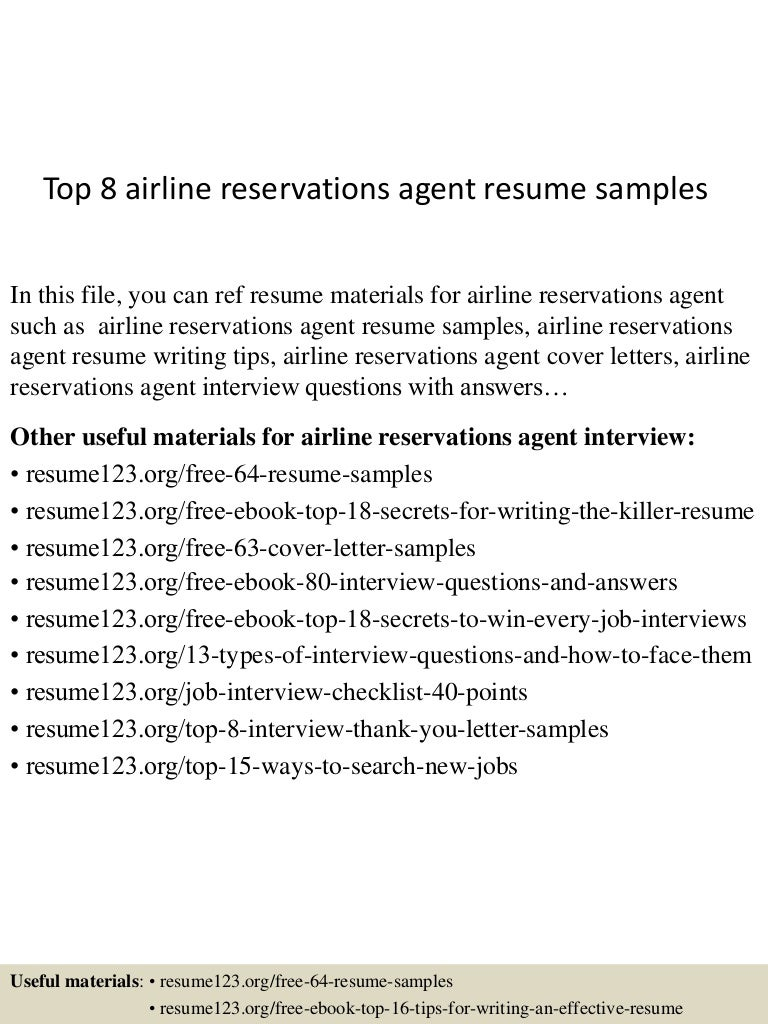 Hotel Reservations Agent Sample Resume what to write in a covering ...
