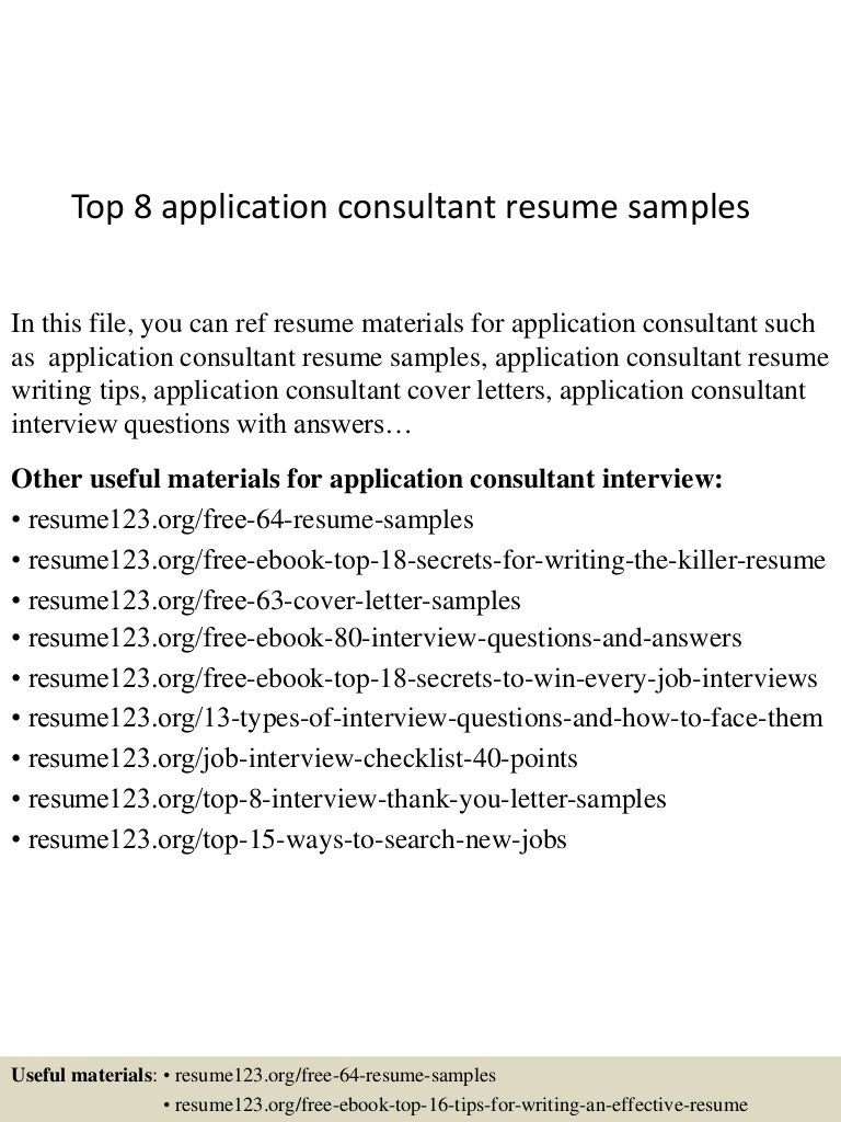 Top 8 application consultant resume samples