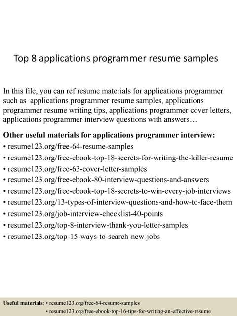 Top 8 applications programmer resume samples