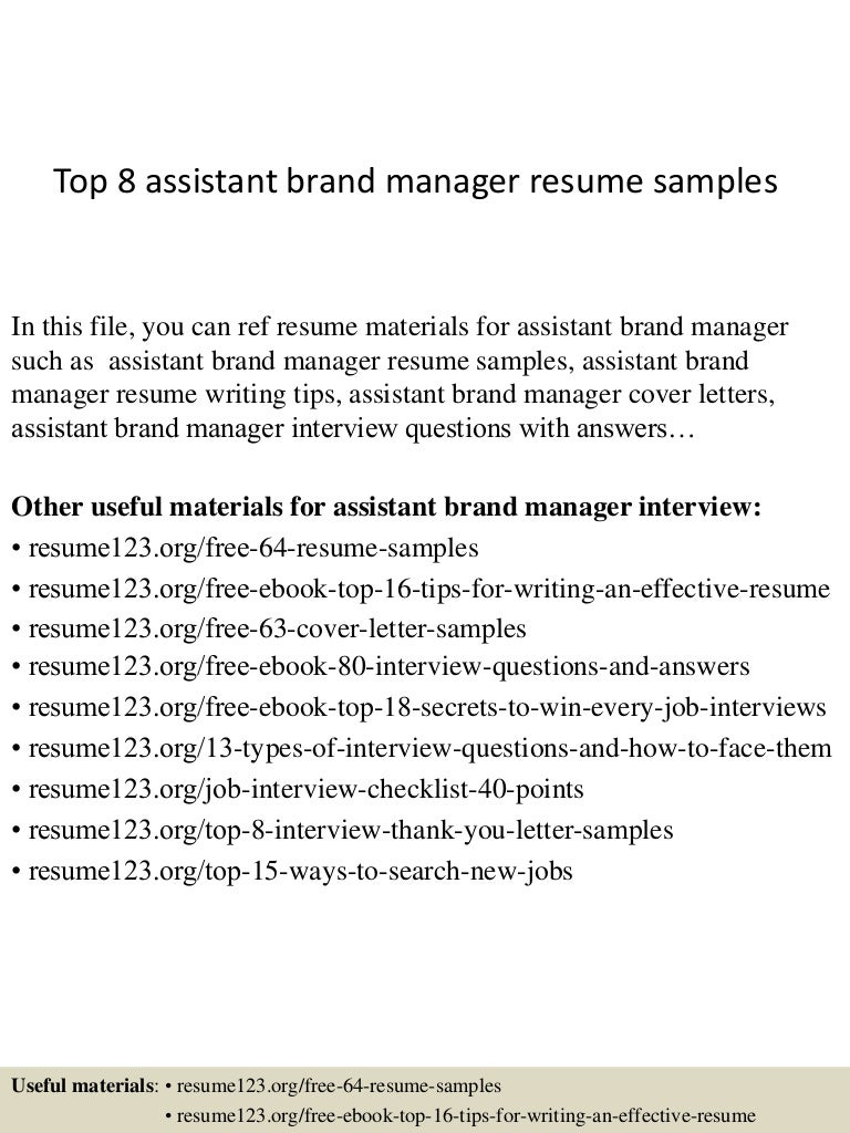 top 8 assistant brand manager resume samples