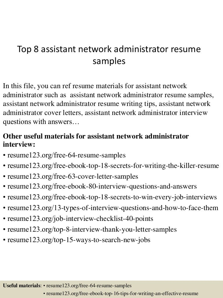 sample admin resume assistant network administrator sample resume topassistantnetworkadministratorresumesampleslvaappthumbnailcb administrator sample - Sharepoint Administration Sample Resume