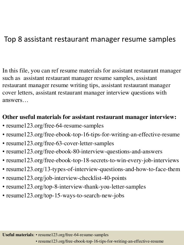 top8assistantrestaurantmanagerresumesamples 150331210040 conversion gate01 thumbnail 4 jpg cb 1427853687