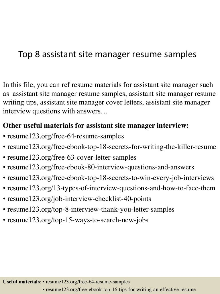 Site Manager Resume Objective. product manager resume objective ...