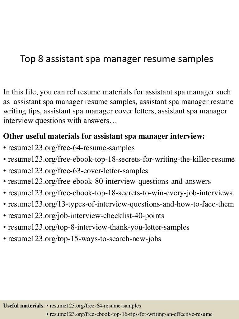 resume Resume For Spa Manager top8assistantspamanagerresumesamples 150715031946 lva1 app6891 thumbnail 4 jpgcb1436930433