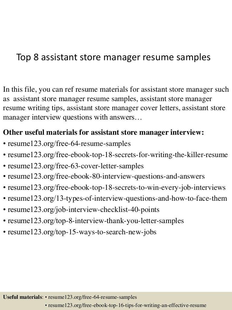 assistant manager resume samples resume examples assistant retail store manager resume sales retail lewesmrsample resume retail