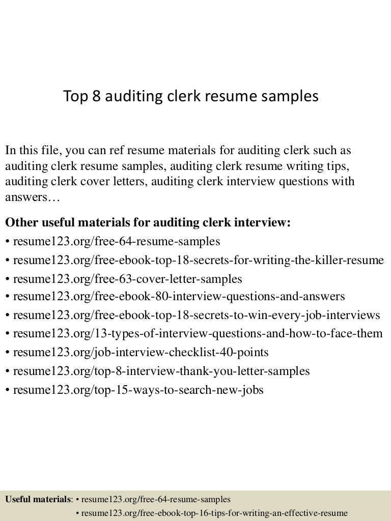Top 8 auditing clerk resume samples