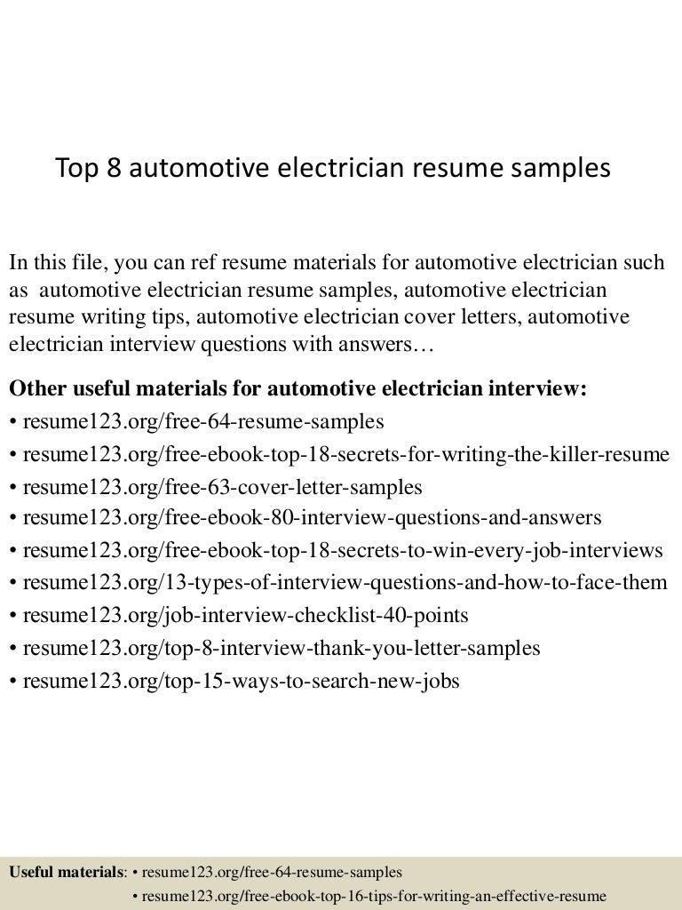 Top8automotiveelectricianresumesamples 150717051429 Lva1 App6892 Thumbnail 4?cbu003d1437110118