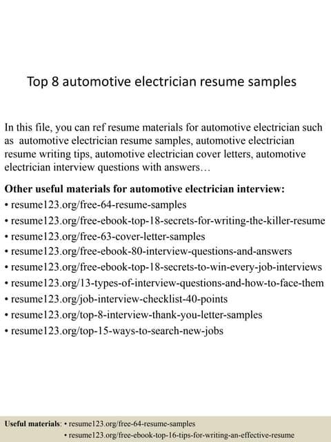 auto electrician resume
