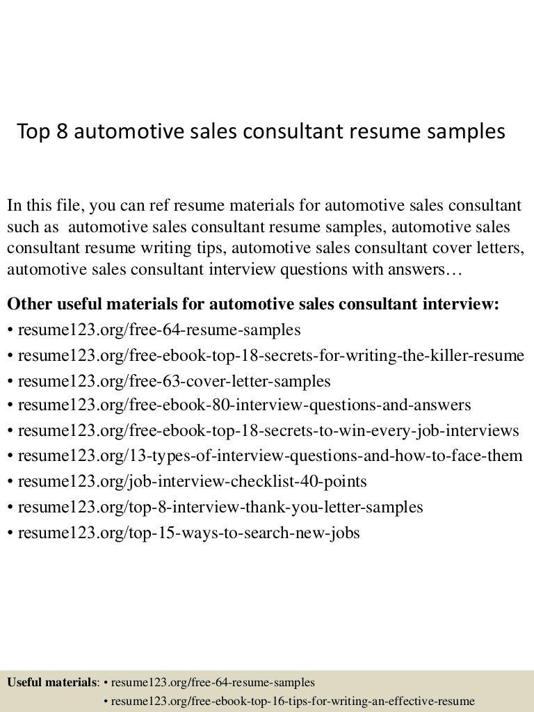 Resume For Automotive Sales Consultant - Virtren.com