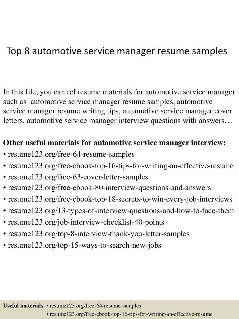 resume Resume For Automotive Service Manager top8automotiveservicemanagerresumesamples 150408080036 conversion gate01 thumbnail 4 jpgcb1428498082