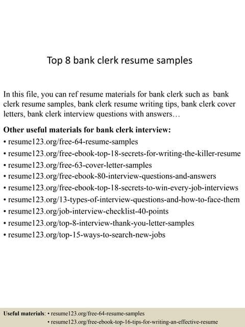 bank clerk cv