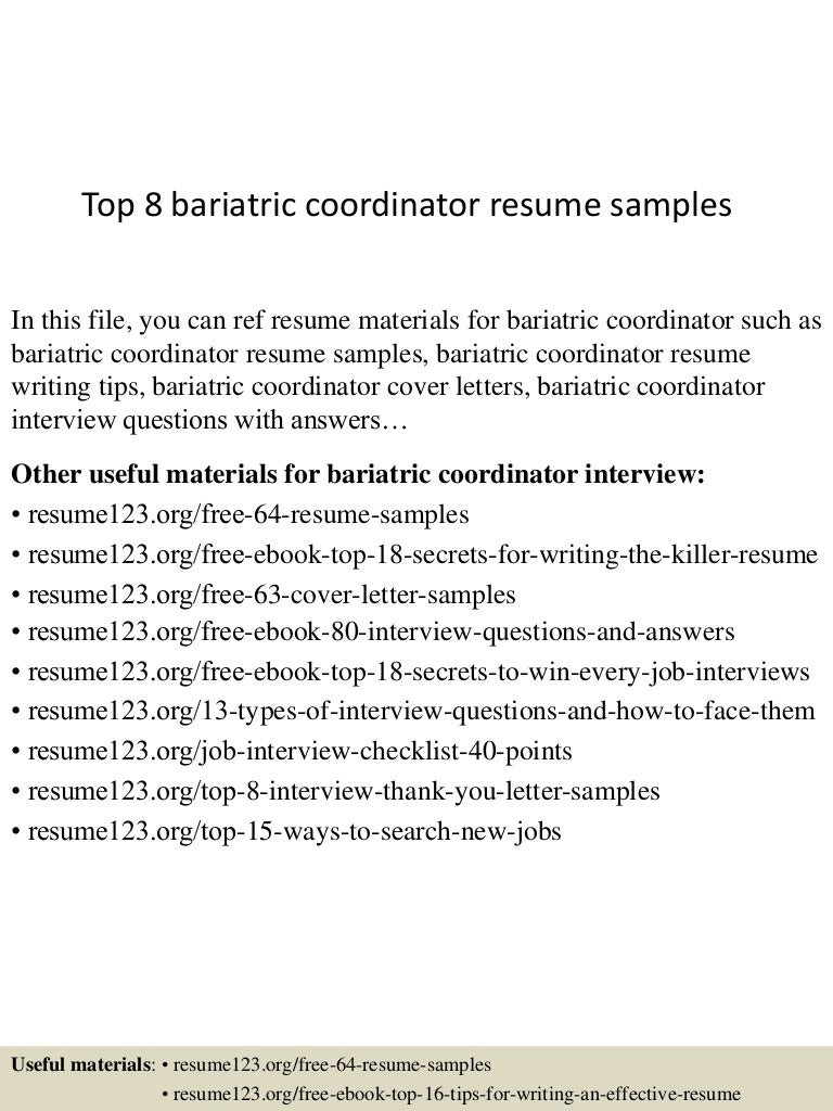 Top 8 bariatric coordinator resume samples