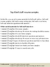 Top 8 bell staff resume samples