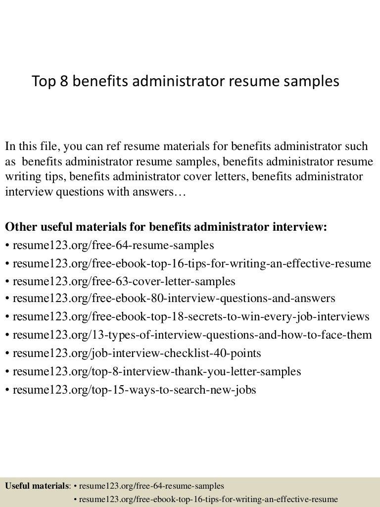 top8benefitsadministratorresumesamples 150331220832 conversion gate01 thumbnail 4 jpg cb 1427857759