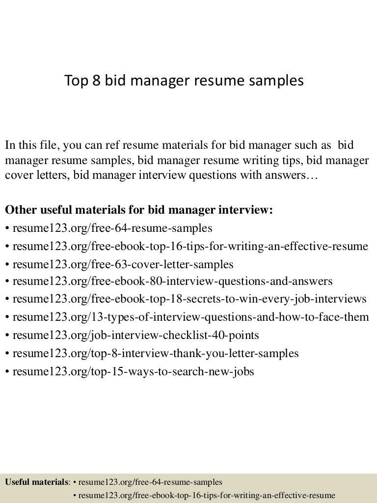 Top 8 bid manager resume samples