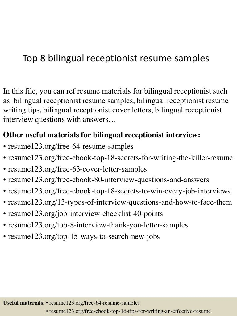 resume sample resume bilingual receptionist top8bilingualreceptionistresumesamples 150527142534 lva1 app6892 thumbnail 4 jpgcb1432737047 - Front Desk Receptionist Resume Sample
