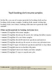 Top 8 booking clerk resume samples