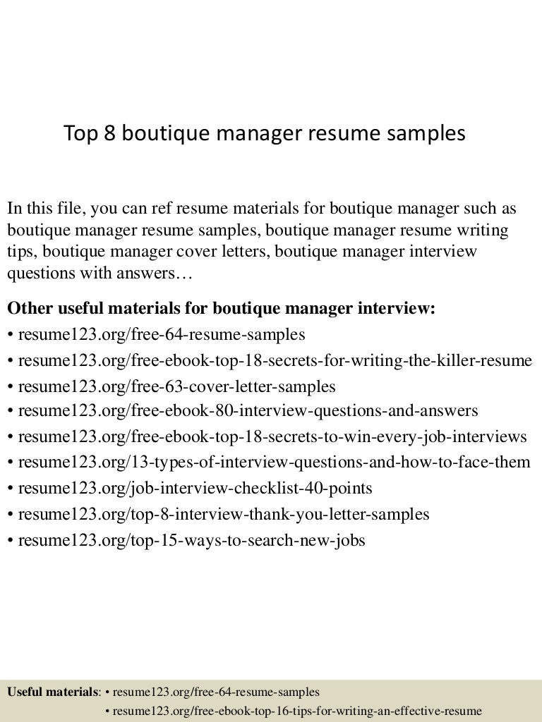 Top 8 boutique manager resume samples