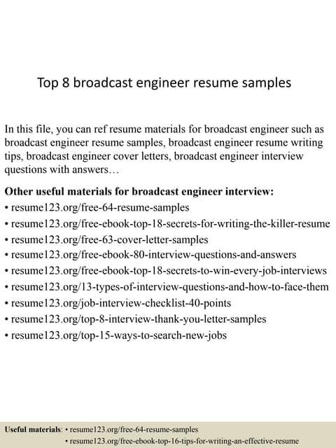 broadcast engineer performance appraisal - Broadcasting Engineer Resume