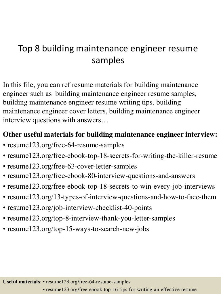top8buildingmaintenanceengineerresumesamples 150516091011 lva1 app6892 thumbnail 4 jpg cb 1431767457