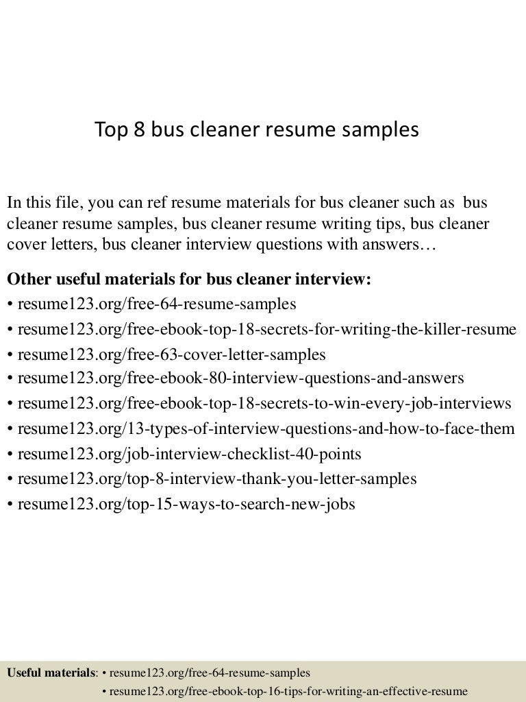 cleaner sample resumes cover letter exsamples compare contrast thumbnail 4jpg cb 1432804308 top8buscleanerresumesamples 150528091103 lva1 app6892 thumbnail 4 top 8 bus cleaner resume samples cleaner sample resumes