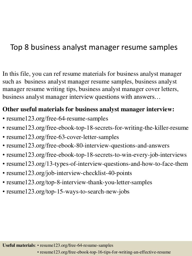 Top8businessanalystmanagerresumesamples 150514054904 Lva1 App6892 Thumbnail 4cb1431582725
