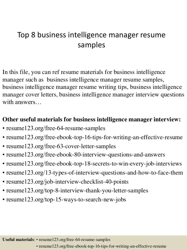 Top8businessintelligencemanagerresumesamples 150410094405 Conversion Gate01 Thumbnail 4 Jpg Cb 1428677094